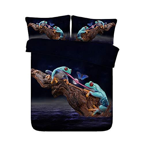 Bettwäsche Set 3 TLG, Morbuy 3D Tier Digitaldruck Reißverschluss Bedding Mikrofaser Weiche Bettbezüge Set mit Bettbezug und Kissenbezüge (150 * 200cm,Frosch) - Baby-bettwäsche-sets Frösche