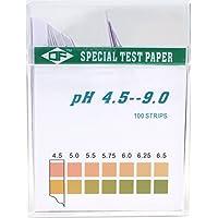 BIPEE Plastic pH Test Strips, Universal Application (pH 4.5~9), 100 strips