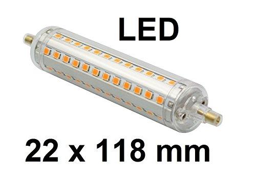 LED Lampe R7S, Länge 118 mm, Durchmesser 22 mm, Retrofit, 10 Watt, 1100 Lumen, Warmweiß 2700 Kelvin, 360° Ausstrahlung - entspricht ca. 100 Watt Halogenlampe. Für Baustrahler, Arbeitsleuchten und Deckenfluter