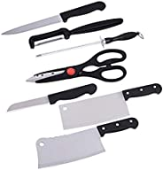 Unique Gadget Stainless Steel Kitchen Knife Knives Set with Knife Scissor, Small, Black -7 Piece