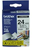 Brother TZ251 2.4cmx8m Laminated Tape Roll - Black on White