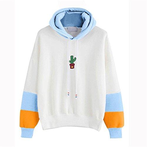 Moonuy Frauen Long Sleeve Hoodies, Damen Cotton Print Hoodies mit Kapuze Sweatshirts, Mädchen Casual Tops Pencil Bluse, Mode lose Pullover (Himmelblau, EU 38/Asien L) (Kleid Mädchen Gap)