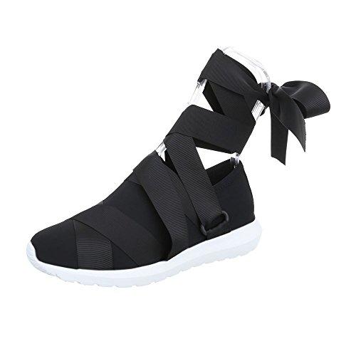 Scarpe da donna Sneaker piatto Sneakers low Ital-Design nero G-17