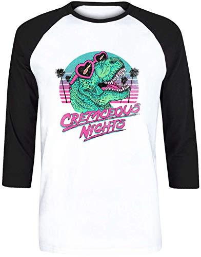 Cretaceous Nights Unisex Herren Damen Weiß Baseball T-Shirt 3/4 Ärmel | Unisex Men's Women's Baseball T-Shirt