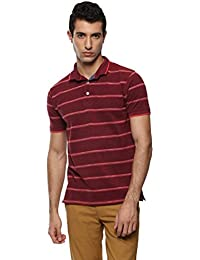 CAYMAN Red Smart Fit Striped Polo T-Shirts