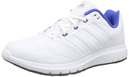 adidas Men's Duramo Trainer Lea White and Blue Leather Sneakers - 9 UK