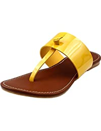 Leather Flats | Classy Ladies Slippers |Formal Ladies Flats (8, Yellow)