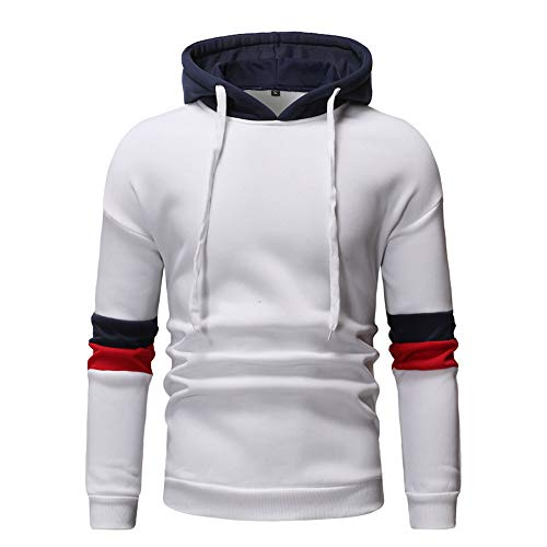 Xmiral Hoodies Herren die Farbe Pullover Langarm-Kapuzenpulli Baumwolle Tops Splicing (M,Weiß 2)