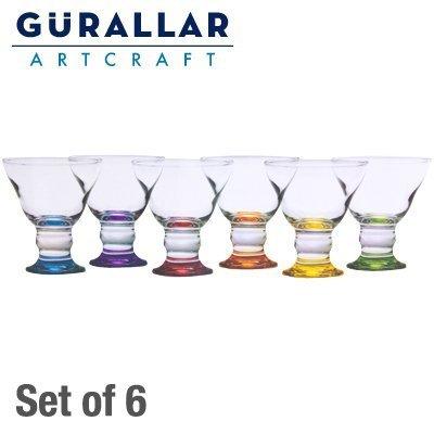 Gurallar Coral Lot de 6 x coupes à glace en verre avec pied de couleur