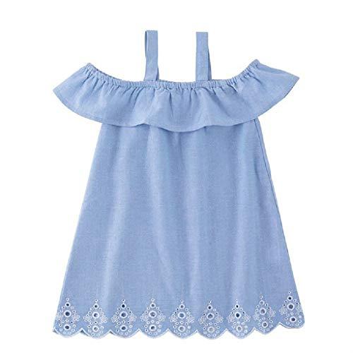 xmansky Frauen Denim Rüschen schnüren Schulterfrei Familie passende Jumpsuit Kleidung,Eltern-Kind Mutter Tochter Mädchen Kleiden
