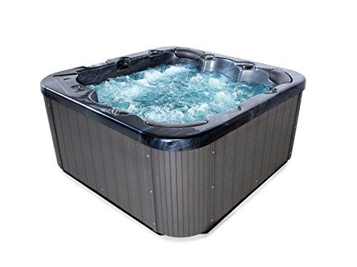 t Tub Zeus Farbe schwarz mit 44 Massage Düsen + Heizung + Ozon Desinfektion + LED Beleuchtung Außenpool für 5 - 6 Personen für Garten / Terasse / Außenbereich (Wasserpumpe 1 5 Ps)