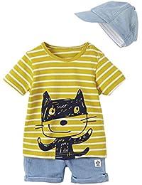VERTBAUDET Conjunto de Gorra + Camiseta Bordada + Bermudas de Felpa para bebé Niño