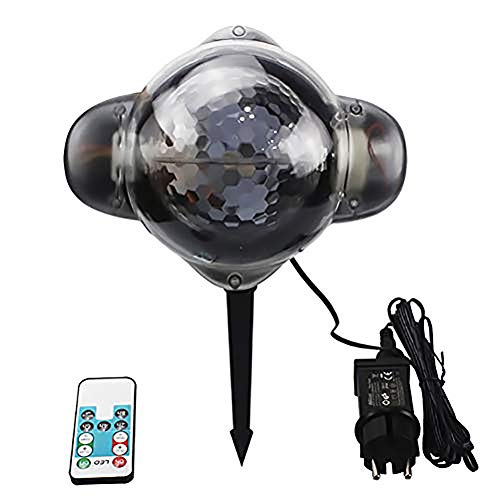 Mettime LED projection lamp with remote control mobile point mode snowfall lighting effect, star projection lamp, love shape, IP65 waterproof, garden light projector, wall decoration, party lights Mobile Point