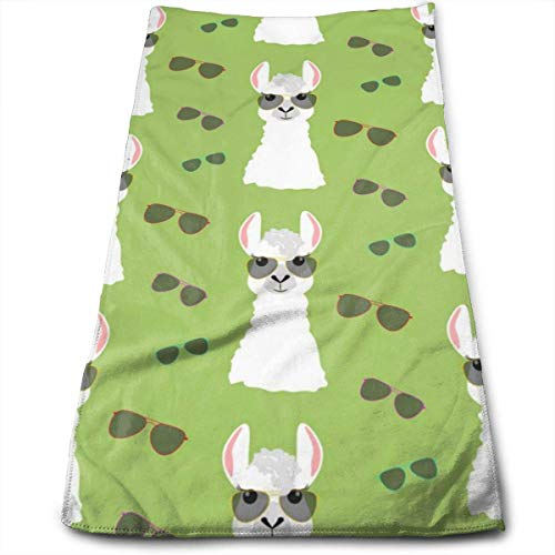 Wolanim Llama in Aviator Glasses Seamless Pattern Personality Funny Washcloth Towels 27.5