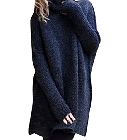 Pull Long Maille Femme Pull Tunique Oversize Manches Longues Col Roulé Ample Hiver Pull Robe Habillé Sweater Loose Large Tricot Chandail Jumper Tops Automne Marine XL
