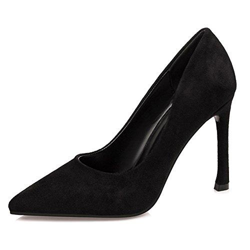 Damen Spitzen Stiletto Heels Sexy Damenschuhe Für Pro OL Arbeitsschuhe Pumps Wildleder Einfarbig,Black-EU:37/UK:4.5