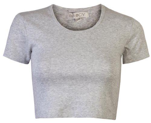 Kurzärmeliges T-Shirt, Damen, Crop, 3/4 Länge, Stretch, Baumwolle/ Elasthan, einfarbig Grau - Grau (Grey Marl)