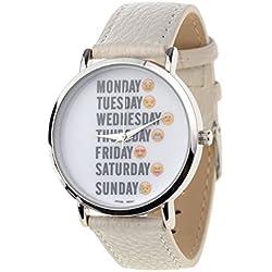 Unisex Geneva Japanese Movement Days of the Week Emoji Face White Faux Leather Strap Watch