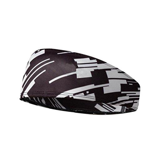 Y56 Elastisches Schweißband Stirnband Herren Männer Camouflage Haar Head Kopf Band Stretch Wrap Elastische Sport Gym Kopfband Haarband (Grau)