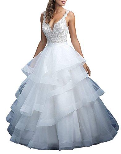 Cloverbridal Damen V-Ausschnitt Ballkleid Organza Hochzeitskleider Abgestuft Rock Brautkleid...