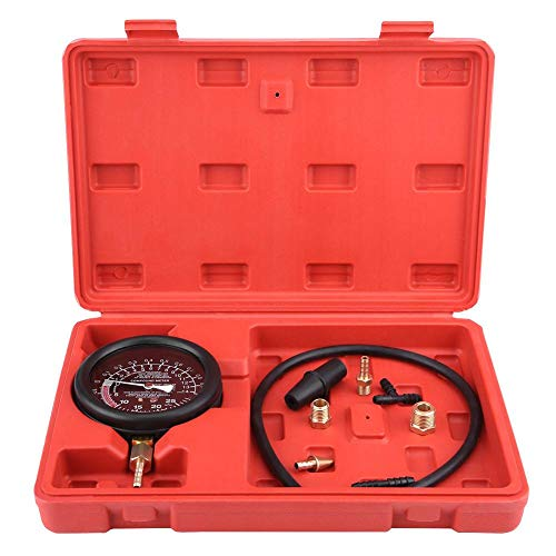 Benzindrucktester Set, Auto Motor Vakuum Kraftstoffpumpe Tester Manometer Vergaser Druckdiagnose Leckage Tester mit Geblasenem Gehäuse