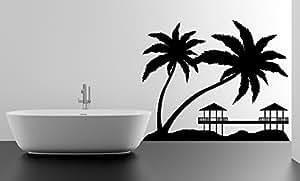 Autocollant palmier bungalows coucher de soleil plage paradisiaque décoration murale en vinyle 70 x 57 cm repositionnable pour + décalcomanie gratuite aléatoire en cadeau