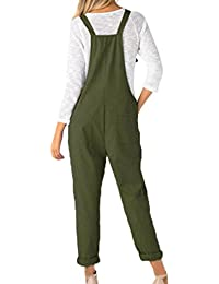 d3b61065d7887 Juqilu Women Loose Jumpsuit Solid Color Overalls Sleeveless Pockets Wide  Legs Casual Dungarees Long Playsuit Romper