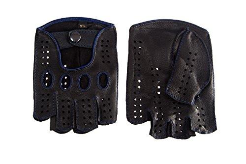 Cashmere-leder-rucksack (Herren Autofahrer Handschuhe Radfahrhandschuhe Aus Leder Schwarz mit Blaue Nähte (9, Schwarz))