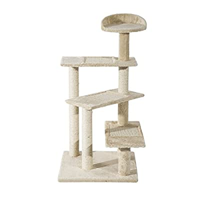 Pawhut Cat Tree Kitten Scratch Scratching Scratcher Sisal Post Climbing Tower Activity Centre Beige from sold by mhstar