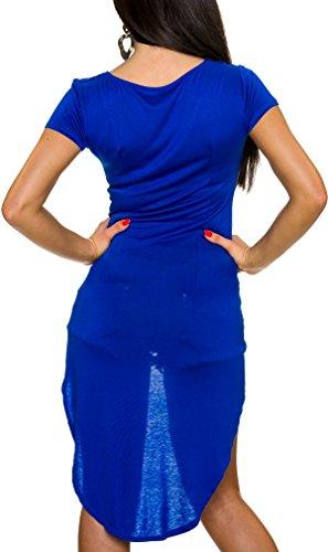 Made in Italy Damen Vokuhila Kleid Kurzarm-Longpulli Sweatshirt (Einheitsgröße 34 36 38) Royalblue