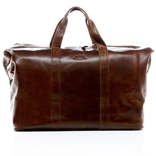 SID & VAIN Reisetasche echt Leder Chester XL groß Sporttasche groß Weekender Ledertasche Herren 56 cm braun -