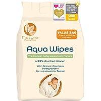 Toallitas húmedas Aqua Wipes, (Bolsa de 4 x 64 paquetes de toallitas húmedas (256 toallitas)), (64 toallitas por paquete), AQW64F4B, Vegana, Biodegradable, sin plástico, 99.6% de agua purificada