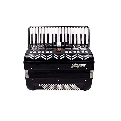 JHJBH Akkordeon, 60 Bass 34k Keyboard Akkordeon, Anfänger Akkordeon for Kinder und Erwachsene, Test Leistung, Schwarz (Color : Black)