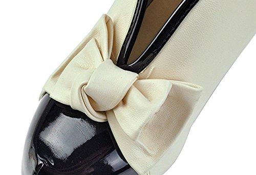 Minetome Damenschuhe Vintage Bogen Pumps High Heels Beige Creme Ankle Boots Stiefeletten Stilettosabsatz Winterstiefel ( EU 39 ) -