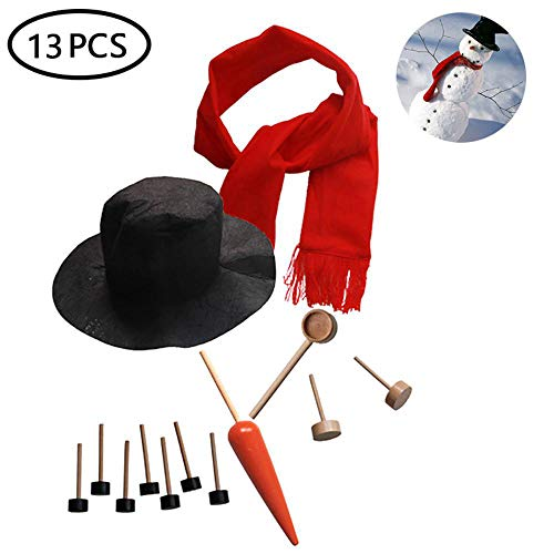 MOGOI Snowman Kit, 13PCS Snowman Making Kit Christmas Snowman Decorating Kit for Kids Outdoor Fun Winter Party Holiday Craft ()