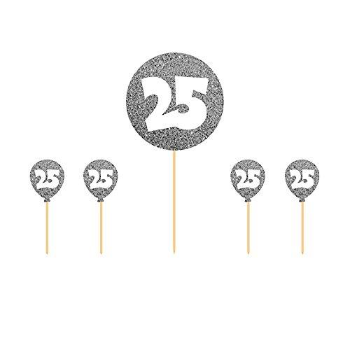l 25 Silber - 5 Teile + 1 Gratis Luftballon Silber (Metallic) Ø 30 cm - partydiscount24® (Zahlen 1 25)