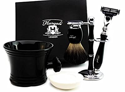 Five Piece Shaving set in Black for Men's. The set includes Pure Black Badger Hair, Gillette Mach 3 Razor, Shaving Mug, Shaving Brush Stand/Holder and shaving soap). Perfect as a Gift for HIM.
