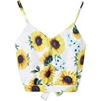 Piebo Damen Sommer Oberteile Lässig Sonnenblumen Drucken Ärmellos V-Ausschnitt Crop Top Weste Tank Shirt Bluse Top