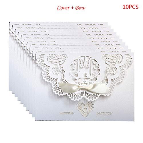 FifijuanC Hochzeitseinladungskarten im europäischen Stil, lasergeschnitten, 10 Stück 18x12.5cm weiß