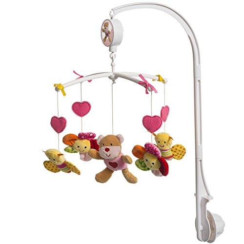 Unbekannt Musik Mobile mit Bärchen, Schmetterling und Blumen, rosa, einfache Montage • Musikmobile Baby Spieluhr waschbar Spielzeug Einschlafhilfe (Schmetterling Mobile Baby)
