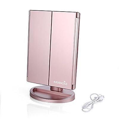 EASEHOLD Kosmetikspiegel, Schminkspiegel mit Beleuchtung, Touchscreen, Standspiegel Make up Spiegel mit LED Licht