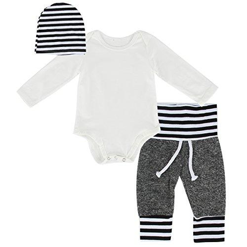 puseky Baby Jungen Mädchen Langarm Weiß Strampler + Hose + Mütze Outfits Kleidung Set