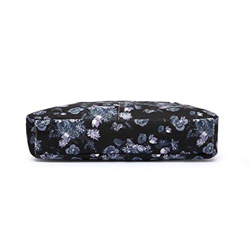 Miss Lulu , Damen Umhängetasche Einheitsgröße 1104-16 Black Satchel + Purse