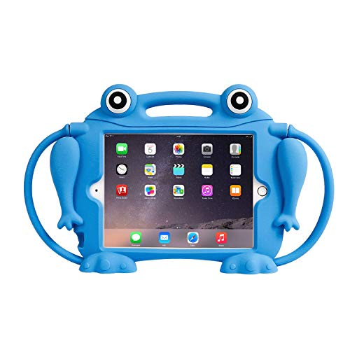 CHIN FAI Kids Case for iPad Mini 1 2 3 4 5 [Eye Popping Frog] Shockproof Silicone Handle Stand Protective Cover for Apple 5th Generation iPad Mini 2019 and iPad Mini with Retina Display(Blau)