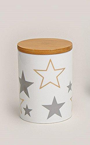 GW GmbH Vorratsdose Sterne Gold grau weiß Aufbewahrungsdose mit Holzdeckel Porzellan Deko Küche...