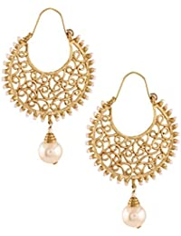 The Jewelbox Classic Filigree Pearl Chaand Bali Earring