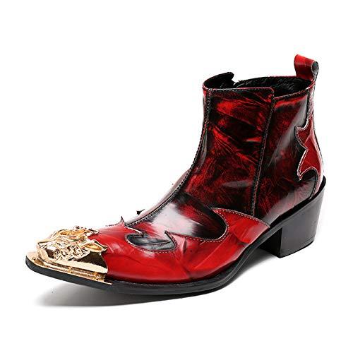 ZPLBOOTS Herren Cowboy Stiefel Stiefeletten Cowboystiefel Lederstiefel Westernstiefel Western Leder Boots Cuban Heel Metall Spitz Rot Größe EU 38-46,Rot,EU44/UK10 -