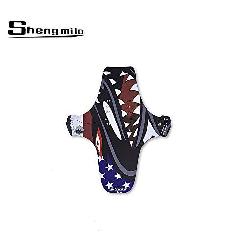 Shengmilo Guardabarros Portátil para Bicicletas, Plegable, Delantero Y Trasero Compatible con Universal Mud Shield, Material Plástico De Bicicleta De Montaña Am Fender PP, Fácil De Desmontar (Shark)