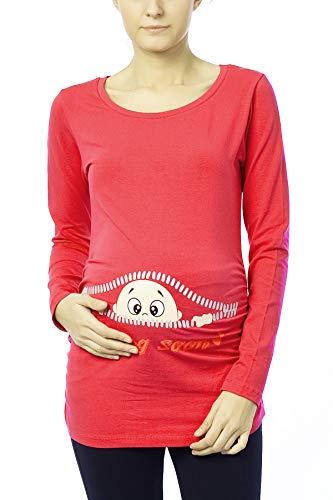 M.M.C. Coming Soon - Lustige witzige süße Umstandsmode/Sweatshirt Umstandsshirt mit Motiv für die Schwangerschaft/Schwangerschaftsshirt, Langarm (Koralle, Small)
