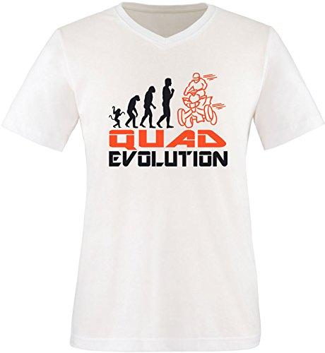 EZYshirt® Quad Evolution Herren V-Neck T-Shirt Weiss/Schwarz/Orange